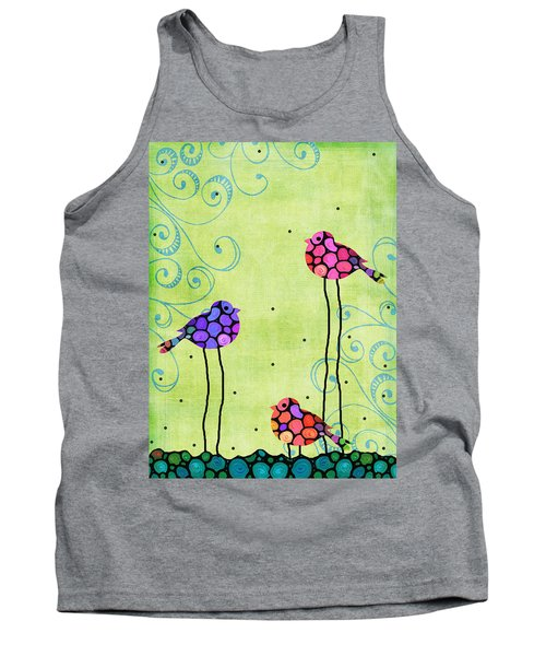 Three Birds - Spring Art By Sharon Cummings Tank Top by Sharon Cummings