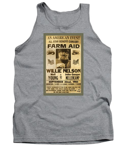 Vintage Willie Nelson 1985 Farm Aid Poster Tank Top by John Stephens