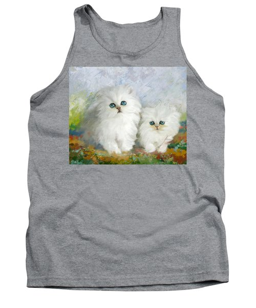 White Persian Kittens  Tank Top by Catf