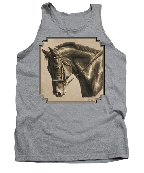 Horse Painting - Focus In Sepia Tank Top by Crista Forest