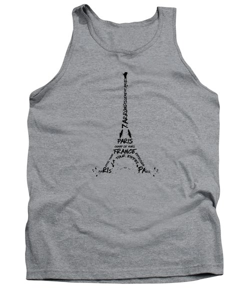 Digital Art Eiffel Tower Pattern Tank Top by Melanie Viola
