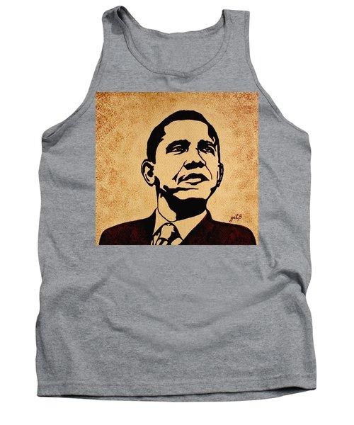 Barack Obama Original Coffee Painting Tank Top by Georgeta  Blanaru