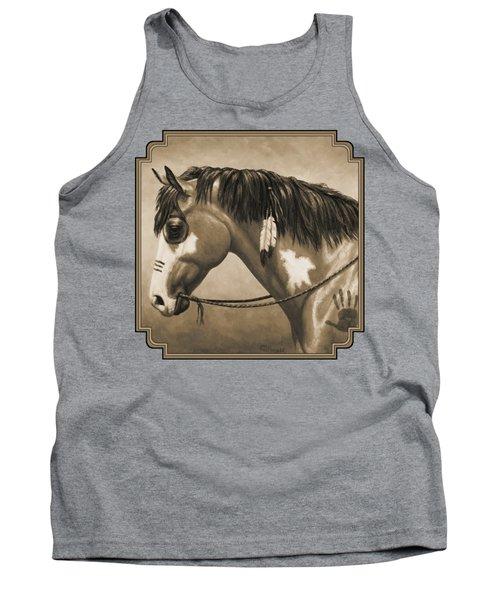 Buckskin War Horse In Sepia Tank Top by Crista Forest