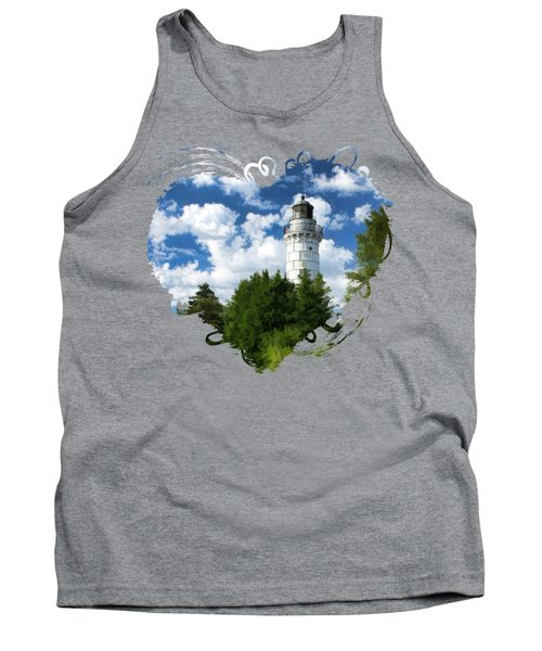 Cana Island Lighthouse Cloudscape In Door County Tank Top by Christopher Arndt