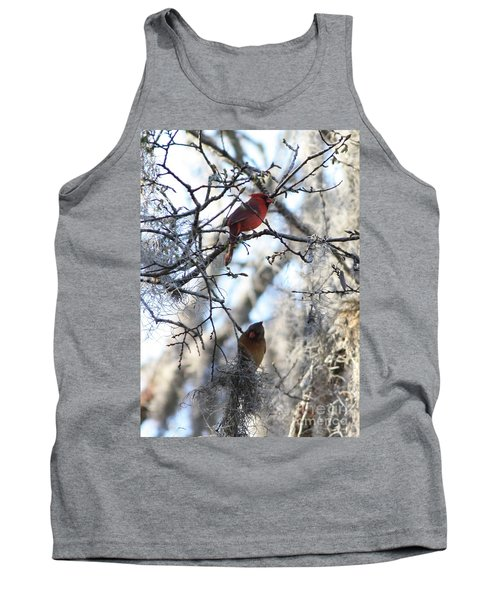 Cardinals In Mossy Tree Tank Top by Carol Groenen