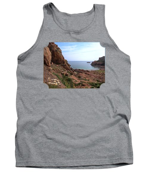 Daisies In The Granite Rocks At Corbiere Tank Top by Gill Billington