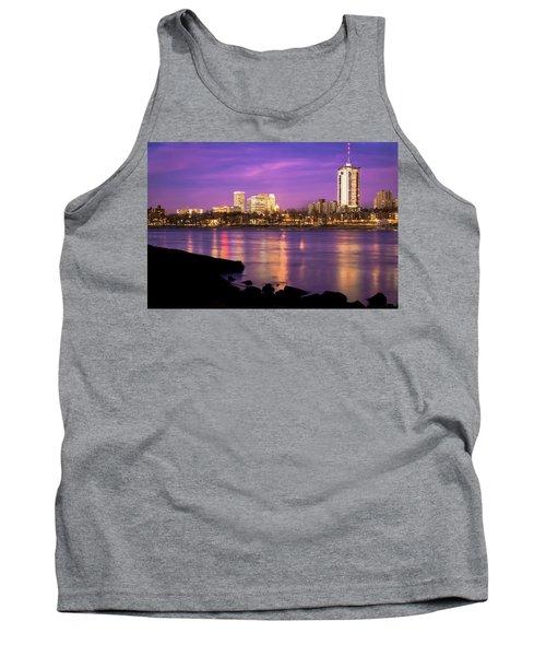 Downtown Tulsa Oklahoma - University Tower View - Purple Skies Tank Top by Gregory Ballos