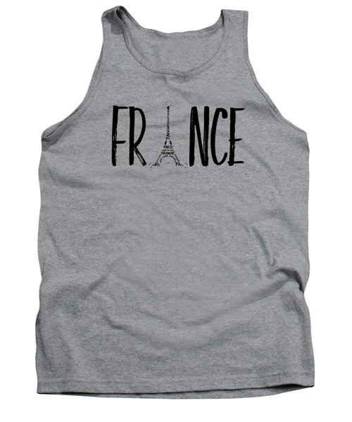 France Typography Panoramic Tank Top by Melanie Viola
