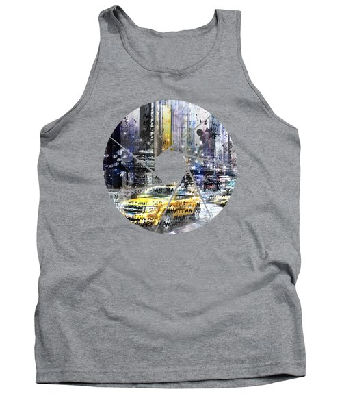 Graphic Art New York City Taxis And Manhattan Skyline Tank Top by Melanie Viola