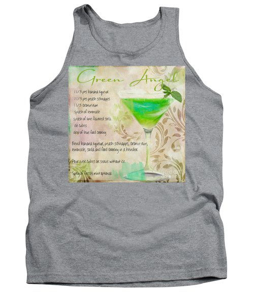 Green Angel Mixed Cocktail Recipe Sign Tank Top by Mindy Sommers