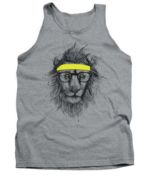 Hipster Lion Tank Top by Balazs Solti