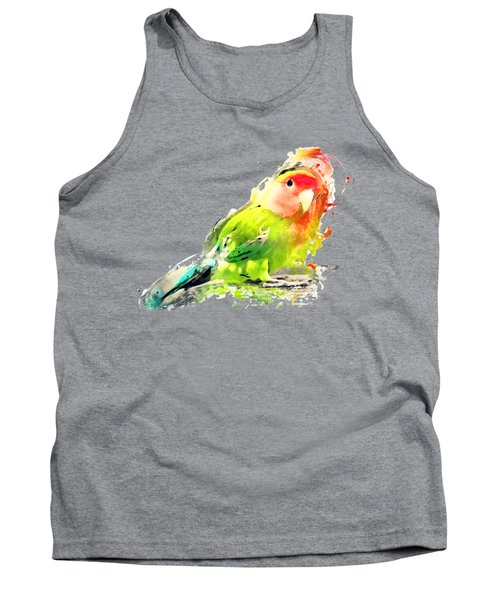 Lovebird Watercolor Painting Tank Top by Justyna JBJart