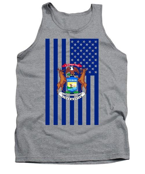 Michigan State Flag Graphic Usa Styling Tank Top by Garaga Designs