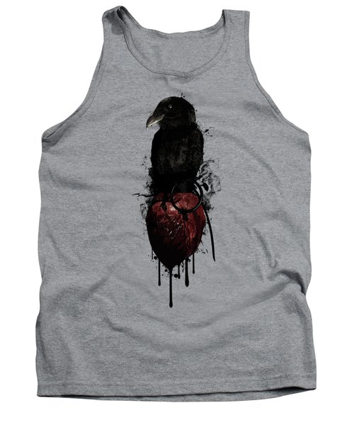 Raven And Heart Grenade Tank Top by Nicklas Gustafsson