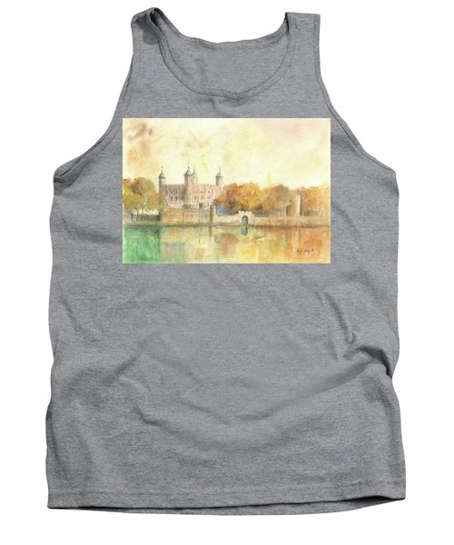 Tower Of London Watercolor Tank Top by Juan Bosco