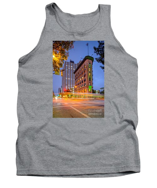 Twilight Photograph Of The Flatiron Building In Downtown Fort Worth - Texas Tank Top by Silvio Ligutti