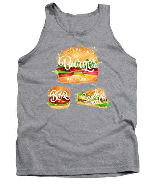 White Burger Tank Top by Aloke Design