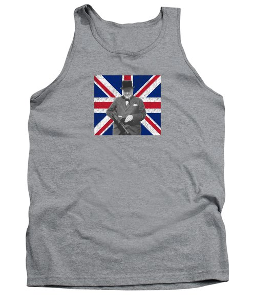 Winston Churchill And His Flag Tank Top by War Is Hell Store