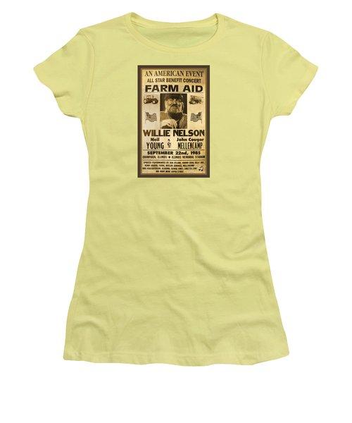 Vintage Willie Nelson 1985 Farm Aid Poster Women's T-Shirt (Junior Cut) by John Stephens