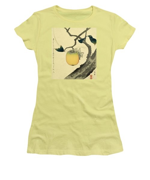 Moon Persimmon And Grasshopper Women's T-Shirt (Junior Cut) by Katsushika Hokusai