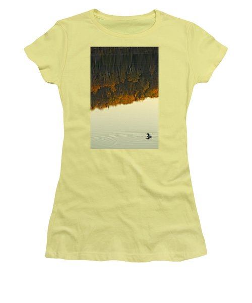 Loon In Opeongo Lake With Reflection Women's T-Shirt (Junior Cut) by Robert Postma