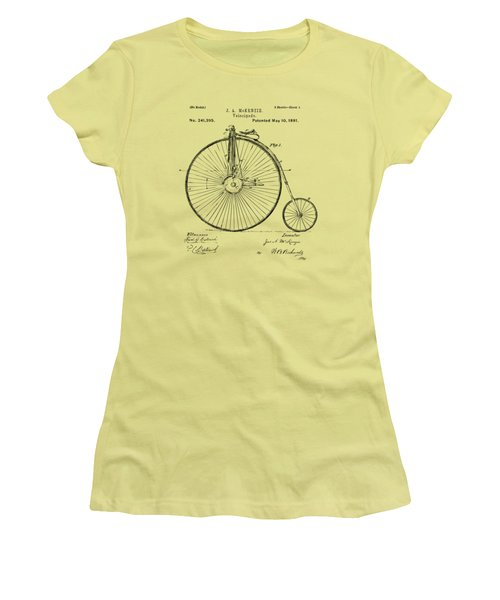 1881 Velocipede Bicycle Patent Artwork - Vintage Women's T-Shirt (Junior Cut) by Nikki Marie Smith