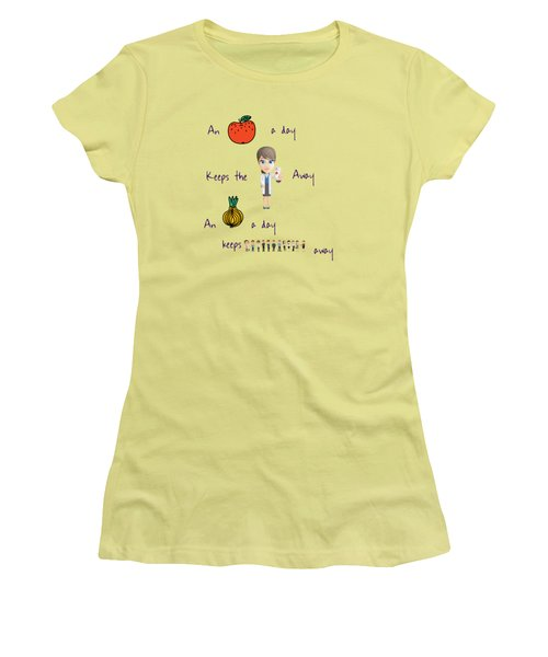 An Apple A Day Women's T-Shirt (Junior Cut) by Humorous Quotes