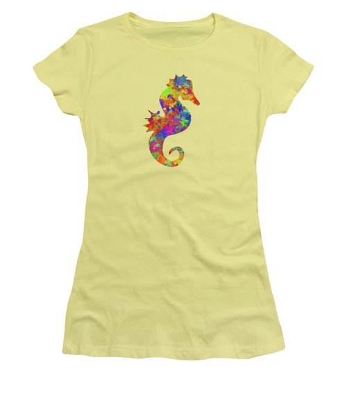 Seahorse Watercolor Art Women's T-Shirt (Junior Cut) by Christina Rollo