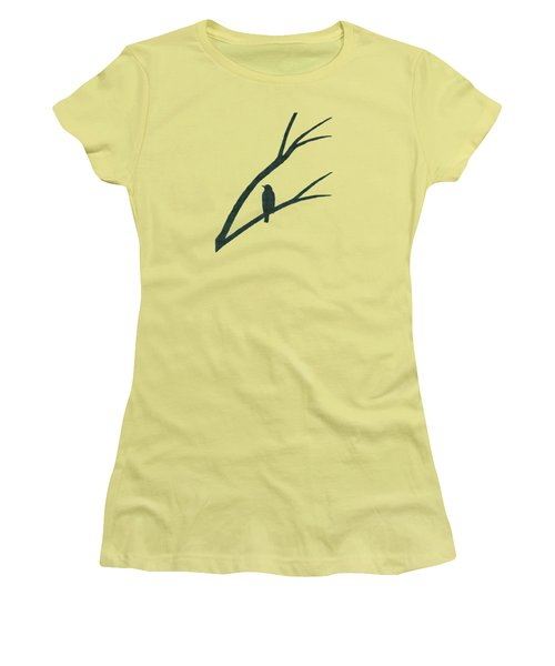 Green Bird Silhouette Plaid Bird Art Women's T-Shirt (Junior Cut) by Christina Rollo