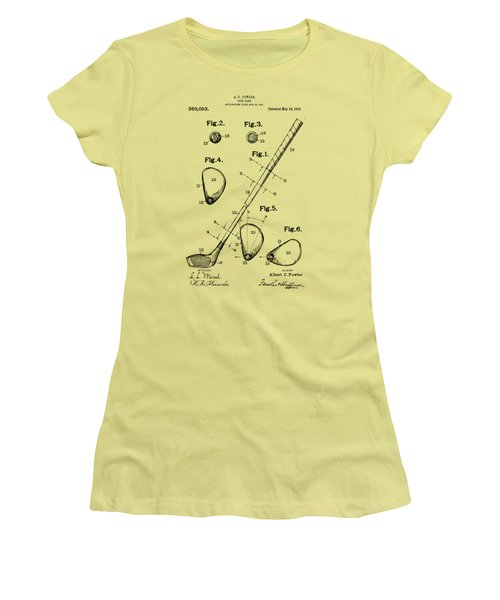 Vintage 1910 Golf Club Patent Artwork Women's T-Shirt (Junior Cut) by Nikki Marie Smith