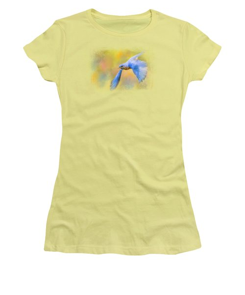 Bluebird Spring Flight Women's T-Shirt (Junior Cut) by Jai Johnson