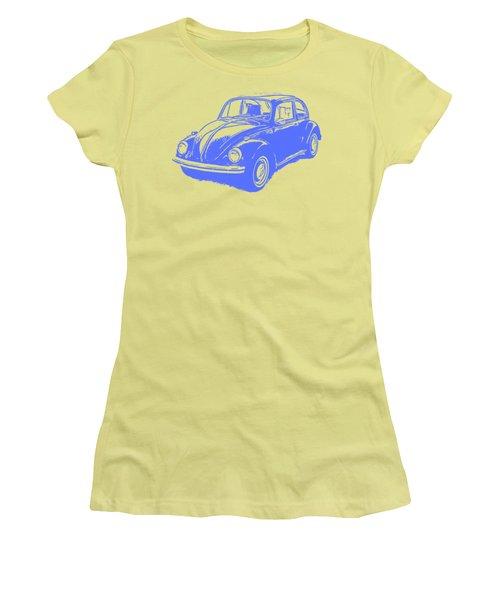 Classic Vw Beetle Tee Blue Ink Women's T-Shirt (Junior Cut) by Edward Fielding
