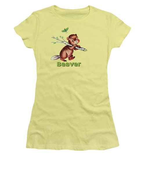 Cute Baby Beaver Pattern Women's T-Shirt (Junior Cut) by Tina Lavoie