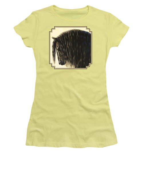 Horse Painting - Friesland Nobility Women's T-Shirt (Junior Cut) by Crista Forest