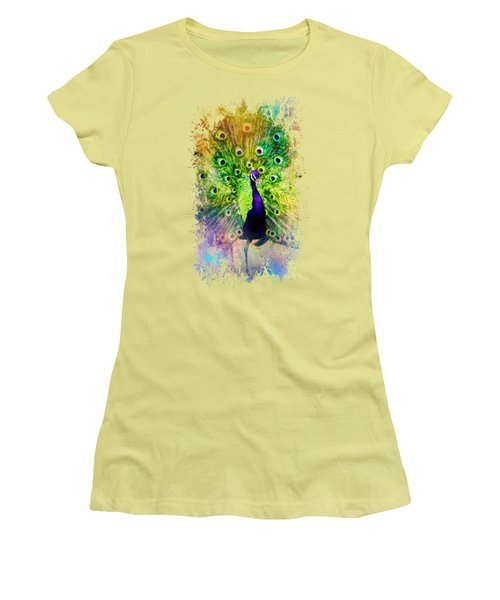 Jazzy Peacock Colorful Bird Art By Jai Johnson Women's T-Shirt (Junior Cut) by Jai Johnson