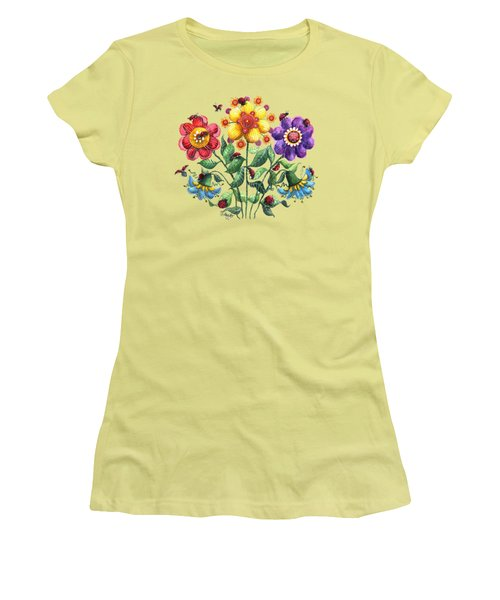 Ladybug Playground Women's T-Shirt (Junior Cut) by Shelley Wallace Ylst