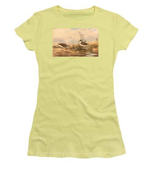 Masked Lapwing Women's T-Shirt (Junior Cut) by Mountain Dreams