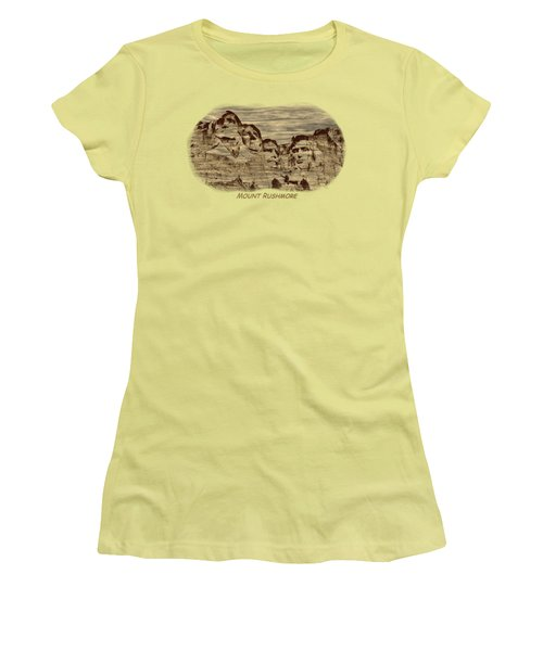 Mount Rushmore Woodburning 2 Women's T-Shirt (Junior Cut) by John M Bailey
