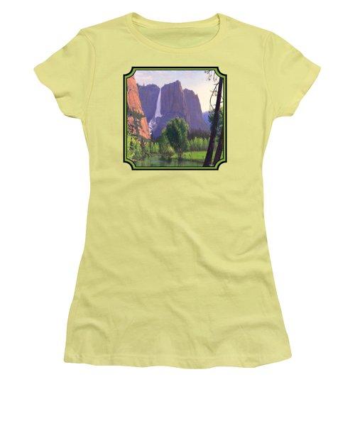 Mountains Waterfall Stream Western Landscape - Square Format Women's T-Shirt (Junior Cut) by Walt Curlee