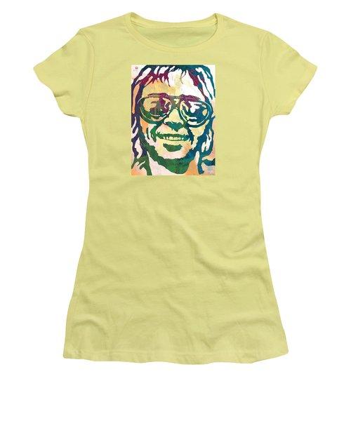 Neil Young Pop Stylised Art Poster Women's T-Shirt (Junior Cut) by Kim Wang