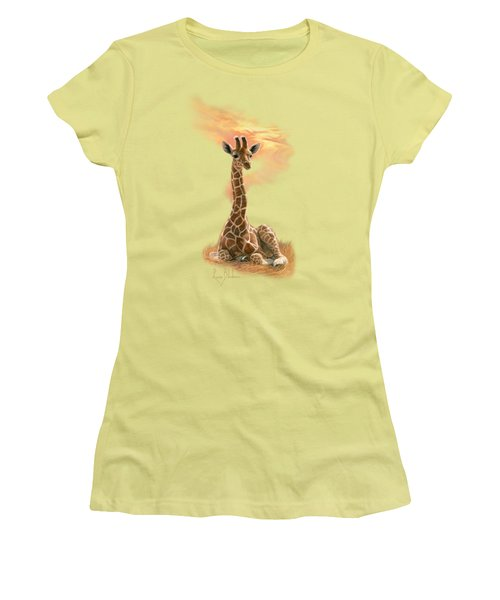 Newborn Giraffe Women's T-Shirt (Junior Cut) by Lucie Bilodeau