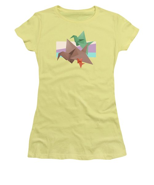 Paper Cranes Women's T-Shirt (Junior Cut) by Absentis Designs