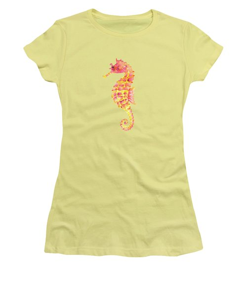 Pink Yellow Seahorse Women's T-Shirt (Junior Cut) by Amy Kirkpatrick