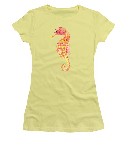 Pink Yellow Seahorse - Square Women's T-Shirt (Junior Cut) by Amy Kirkpatrick