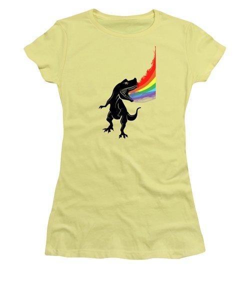 Rainbow Dinosaur Women's T-Shirt (Junior Cut) by Mark Ashkenazi