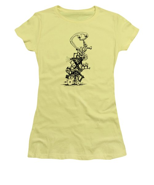 Rat Reverse-cycle Steam Engine Women's T-Shirt (Junior Cut) by Kim Gauge