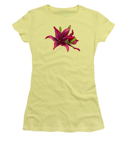 Red Lilies Women's T-Shirt (Junior Cut) by Jane McIlroy