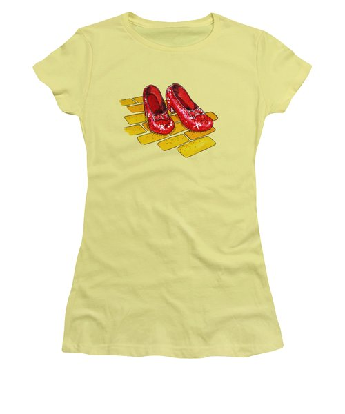 Ruby Slippers Wizard Of Oz Women's T-Shirt (Junior Cut) by Irina Sztukowski