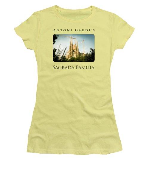 Sagrada Familia With Catalonia's Flag Women's T-Shirt (Junior Cut) by Alejandro Ascanio