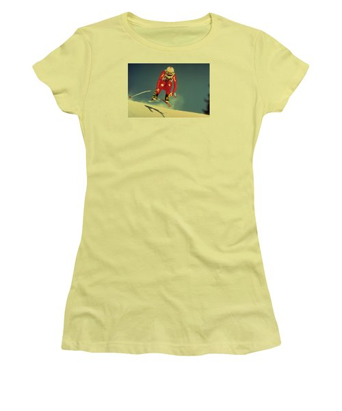 Women's T-Shirt (Junior Cut) featuring the photograph Skiing In Crans Montana by Travel Pics